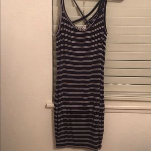 Garage striped navy blue and white bodycon dress